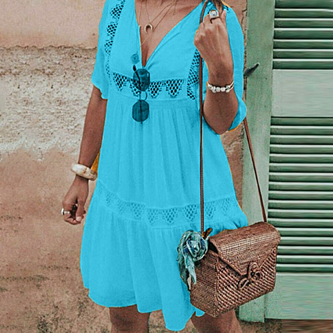 mode femmes& 039;s été Boho V Neck HolFaible Robe manche courte Party plage SunRobe à prix pas cher