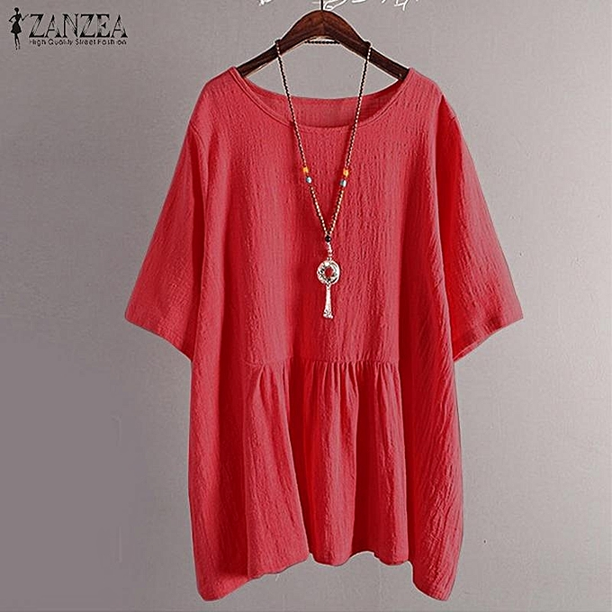 Zanzea ZANZEA femmes Short Sleeve Casual Asymmetrical T-Shirt Blouse Ethnic Retro Tops à prix pas cher