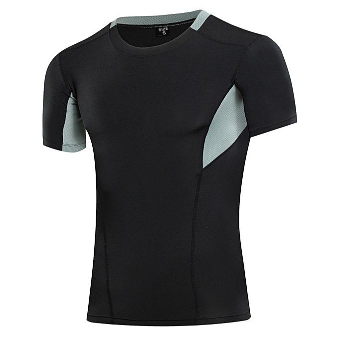 Other mode Hommes& 039;s noir gris Patchwork Tight Sports Shirts-noir gris à prix pas cher