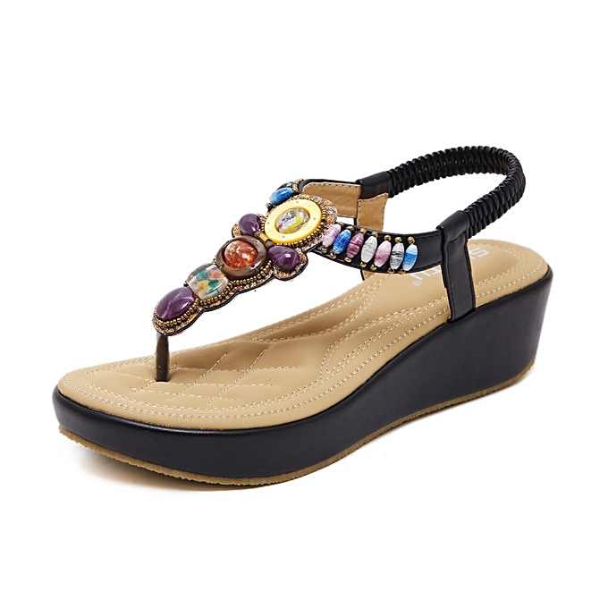 OEM Hot Sale Large Taille Wedge Sandals femme Summer Sandals Bohemia Slope Heel Beaded Comfortable chaussures-noir à prix pas cher