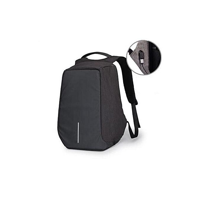 UNIVERSAL Men Anti-Theft Waterproof Backpack USB Charging Port Travel School Bag Rucksack noir à prix pas cher