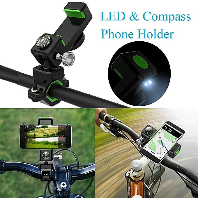 UNIVERSAL Metal Bicycle Bike Motorcycle Handlebar Phone Holder Mount & Compass LED Light noir vert à prix pas cher
