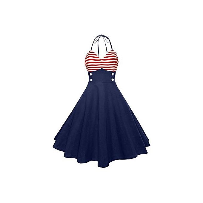 mode mode Accessories femmes Vintage Sleeveless V Neck Flag impression Evening Party Prom Swing Robe à prix pas cher