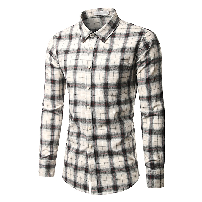 Fashion Men's Casual And Self-Cultivating Checked Shirt Long Sleeved Checked Shirt à prix pas cher
