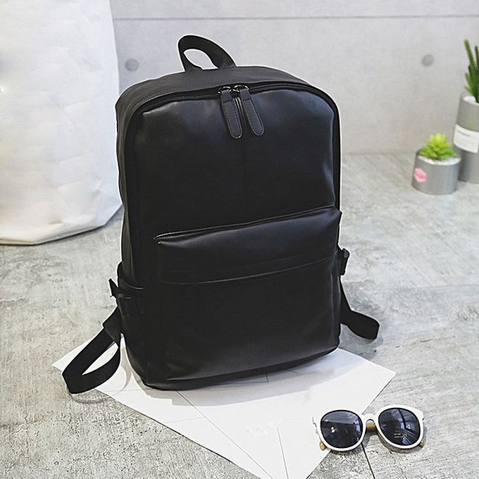 Fashion Xiuxingzi Men's Wohommes Leather Backpack Laptop Satchel Travel School Rucksack Bag noir à prix pas cher