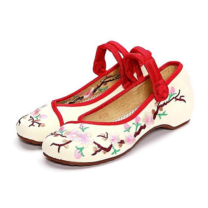 Fashion Fashion femmes Embroiderouge Floral Print Canvas Slip On Retro Lazy chaussures Mary Janes à prix pas cher    Jumia Maroc