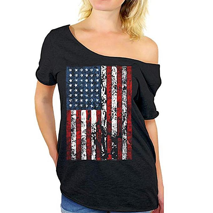 mode whiskyky store femmes Plus Taille Independence Day manche courte été T-shirt hauts à prix pas cher