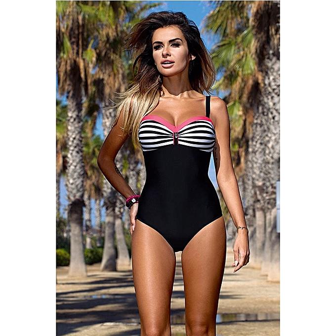 Autre New Taille Swimwear Swimsuit femmes Patchwork Slimming Retro Bathing Suits Female Large Swim Wear(18063705) à prix pas cher