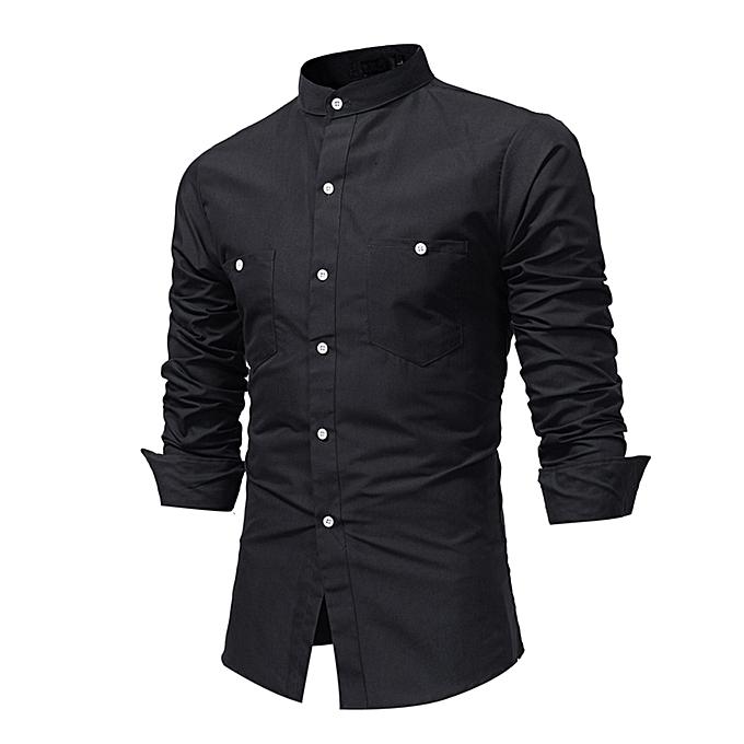 mode Hommes& 039;s Autumn Décontracté Formal Stand Collar Slim manche longue Robe Shirt Top chemisier- noir à prix pas cher