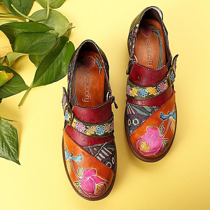 Fashion SOCOFY femmes Bohemian Jacquard Splicing Genuine Leather Zipper Low Heel chaussures à prix pas cher    Jumia Maroc