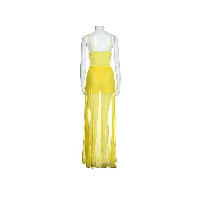 Eissely femmes Ladies Long Playsuit Bodycon Party Clubwear Jumpsuit Trousers  YE L-jaune à prix pas cher