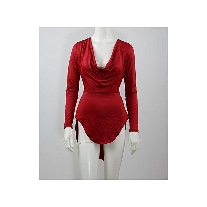 Generic nouveau Stuffsexy Club femmes Robe manche longue Robe Party Evening Elegant Deep V-neck noir Bodycon Robees -rouge à prix pas cher