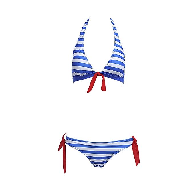 Generic HL femmes Beach Swimming Sexy Striped Bikini Separated Swimsuit (bleu) (S, M, L, XL) à prix pas cher