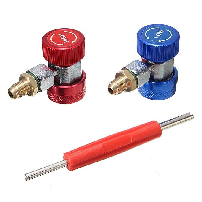 UNIVERSAL Adapter R134A Quick Coupler 90~ Low and High Side AC Manifold Extractor Valve Core à prix pas cher