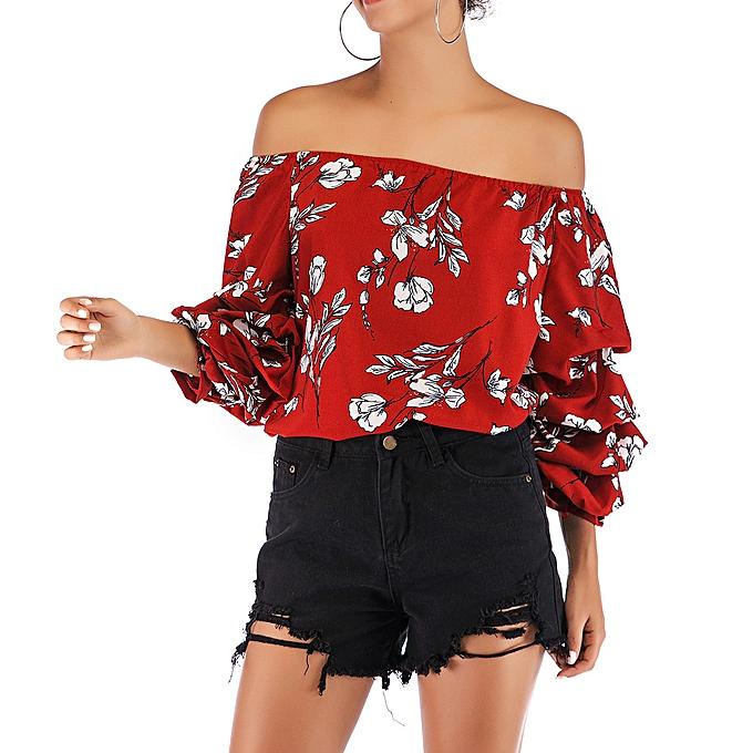 mode meibaol store femmes& 039;s Floral Print Cold Shoulder Irregular Long Puff Sleeve Shirt chemisier hauts à prix pas cher