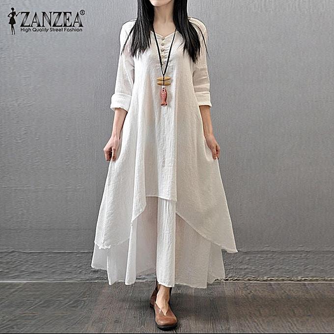 Zanzea ZANZEA Boho Long Maxi Robe femmes Décontracté Solid Cotton Linen Vestidos Plus Taille Elegant Loose Full Sleeve V-Neck Robe blanc à prix pas cher