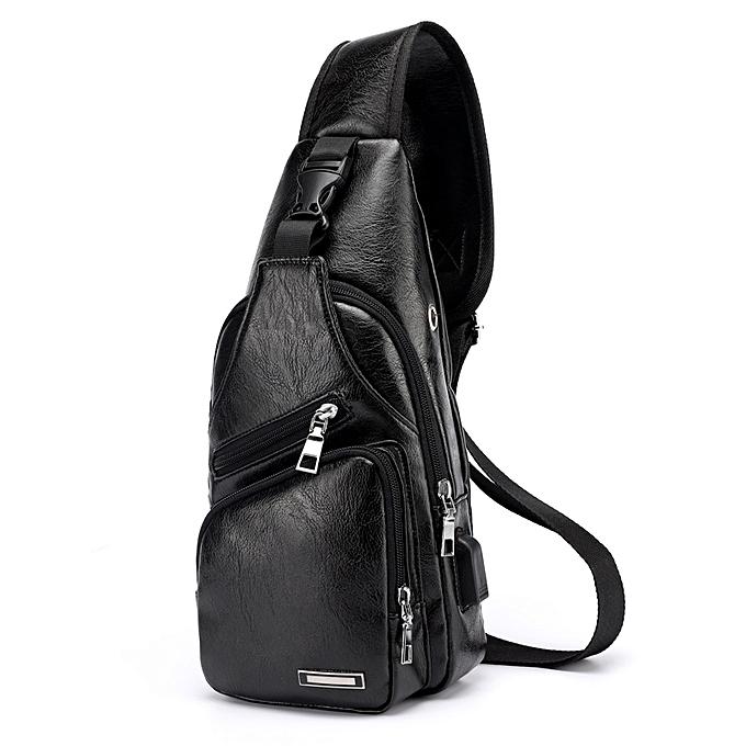 mode USB Charging Hommes's bandoulière sac Shoulder Check sac -noir à prix pas cher