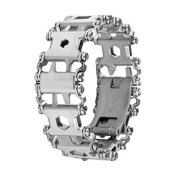 Generic Multifunction Tread Bracelet Outdoor Travel Friendly Wearable Multitool argenty à prix pas cher