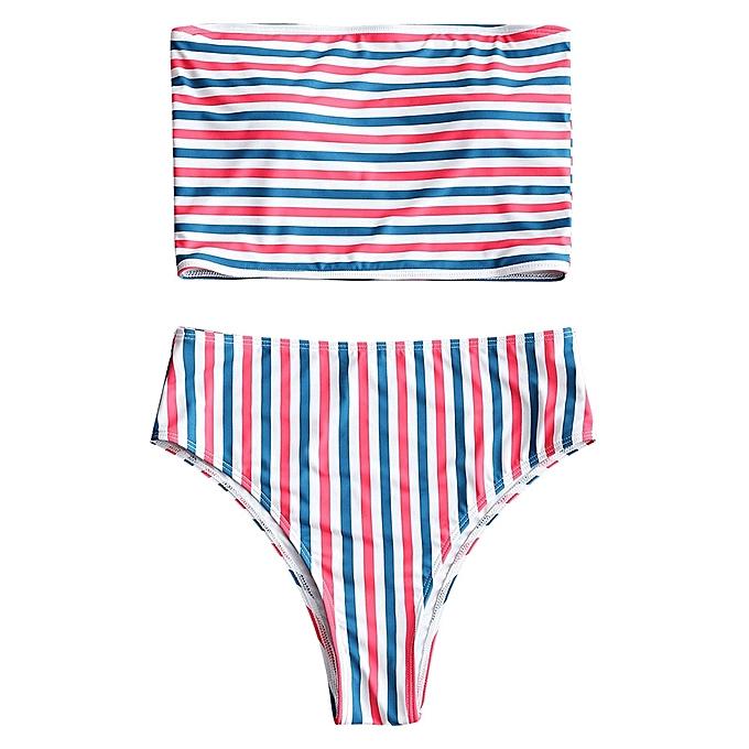 Generic HL rayé Tube High Cut Bikini Set (Stripe) (L, M) à prix pas cher