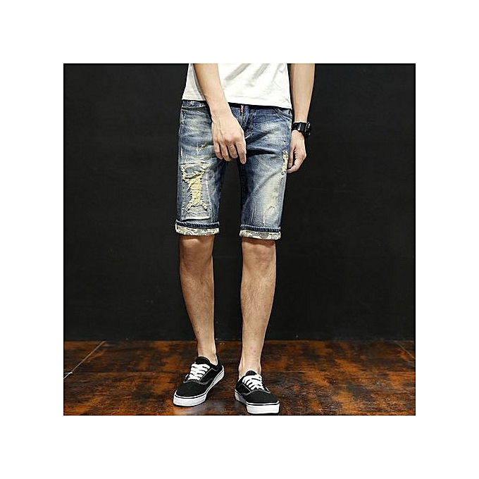 Generic summer thin large Taille hommes hole jeans shorts stretch slim straight mens shorts-bleu à prix pas cher