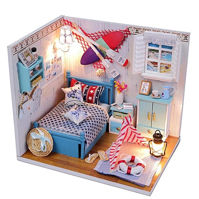 Autre Alink DIY Miniature 3D Poupées En Bois Maison Modèle Housse Anti-Poussière Dollhouse Jouets Cadeaux à prix pas cher