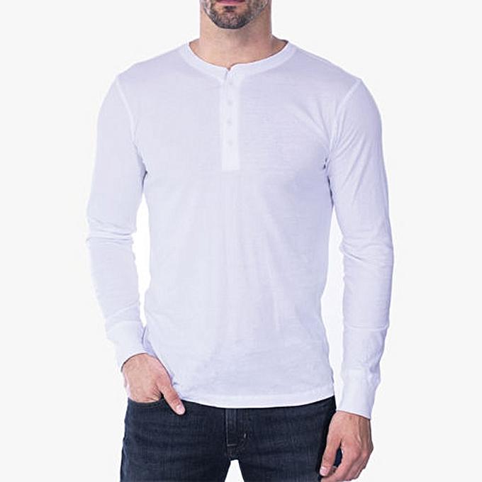 mode Hommes& 039;s Slim O Neck manche longue Muscle Tee T-shirt Décontracté chemisier WH L -blanc à prix pas cher