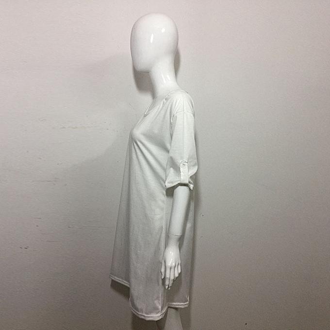mode jiahsyc store femmes Loose Décontracté O-Neck manche courte Ladies T-Shirt hauts Ruffles Flarouge Robe-blanc à prix pas cher