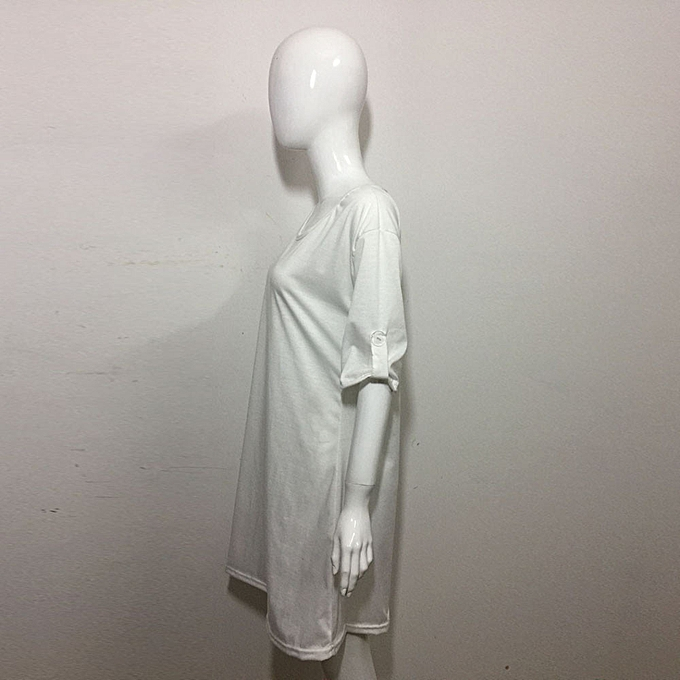 Fashion jiahsyc store femmes Loose Casual O-Neck Short Sleeve Ladies T-Shirt Tops Ruffles Flarouge Dress-blanc à prix pas cher