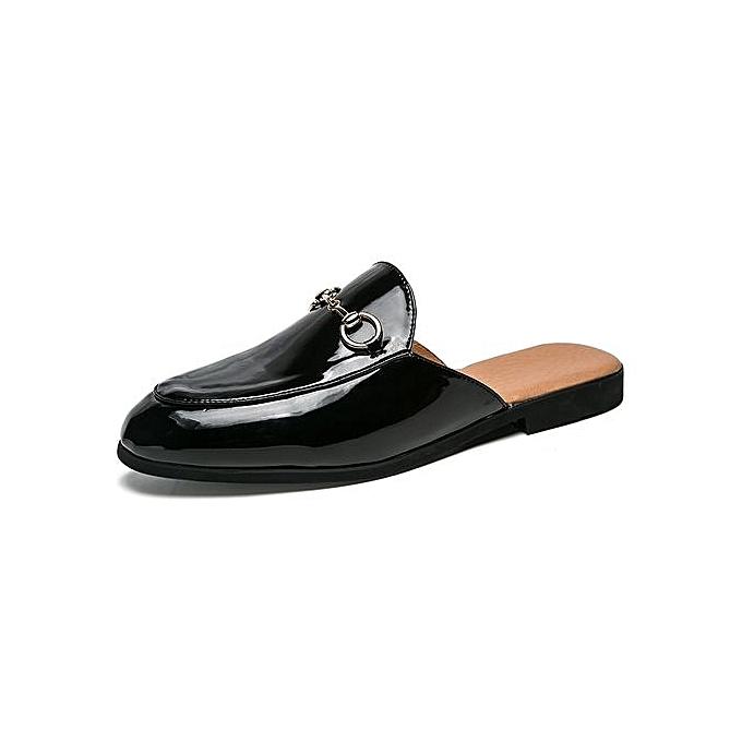Fashion Formal Slippers Men Leather chaussures Casual Moccasins (noir) à prix pas cher