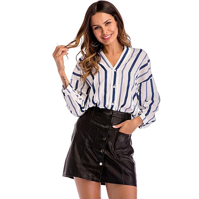 mode meibaol store femmes& 039;s Décontracté V-neckline manche longue Stripe Print hauts Loose Shirts  chemisier à prix pas cher