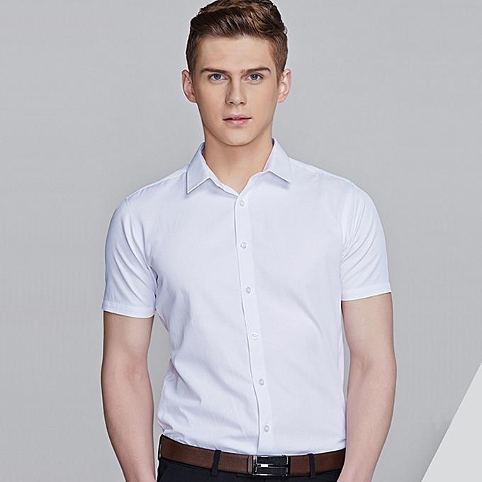 Fashion Short sleeve dress shirt-blanc à prix pas cher