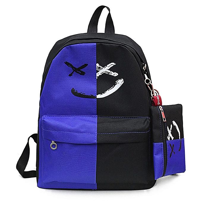 OEM 2Pcs femmes Girls Smile Shoulder Bookbags School Travel Backpack+Small Bag à prix pas cher