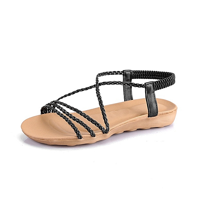 Other New Stylish Summer Fashion Rome Woven belt Simple Leisure Sandals-noir à prix pas cher