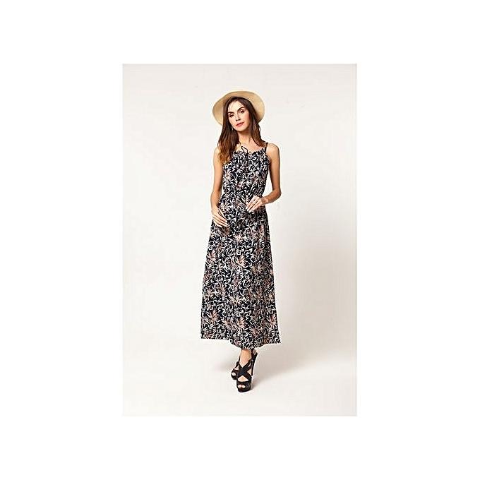 Fashion New femmes Slim Thin Vintage Floral Sling Dress Waist Party Photo Long Dress à prix pas cher