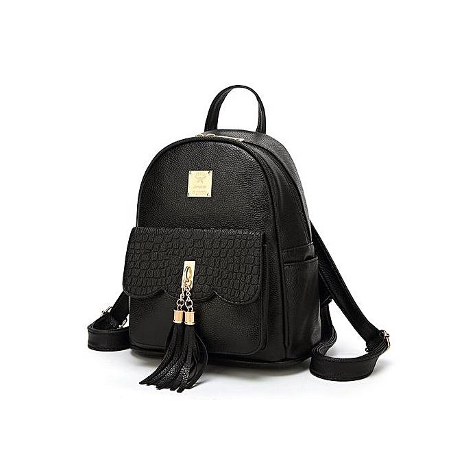 Generic Ladie's sac à dos School Multiple Intervals Shoulder PU cuir voyage sac 13x25x30-noir à prix pas cher