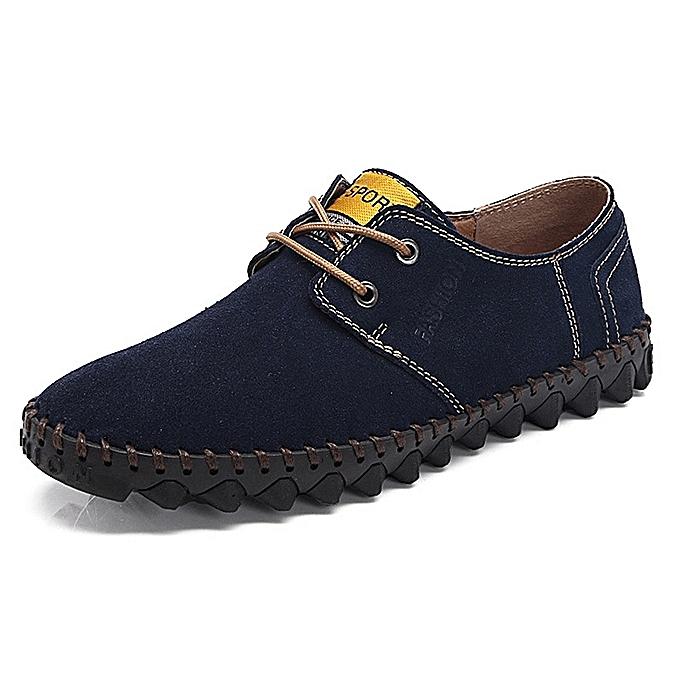 Fashion Men Comfy Lace Up Suede Flats Soft Sole chaussures—noir à prix pas cher    Jumia Maroc
