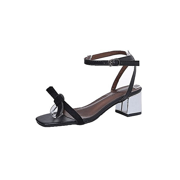 Fashion Bliccol High Heel chaussures Summer Sandals Open Toe femmes Thick Heel chaussures Gladiator chaussures Wedding chaussures-noir à prix pas cher