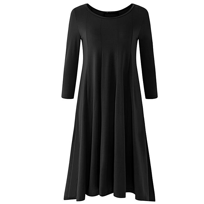 UNIVERSAL femmes Autumn Long Sleeve Pleated Party Evening Kaftan Tunic Swing Midi Dress à prix pas cher