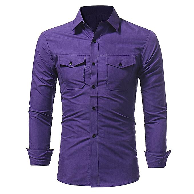 Fashion Mens Double Pocket Solid Couleur Slim Long Sleeve Casual Shirts à prix pas cher