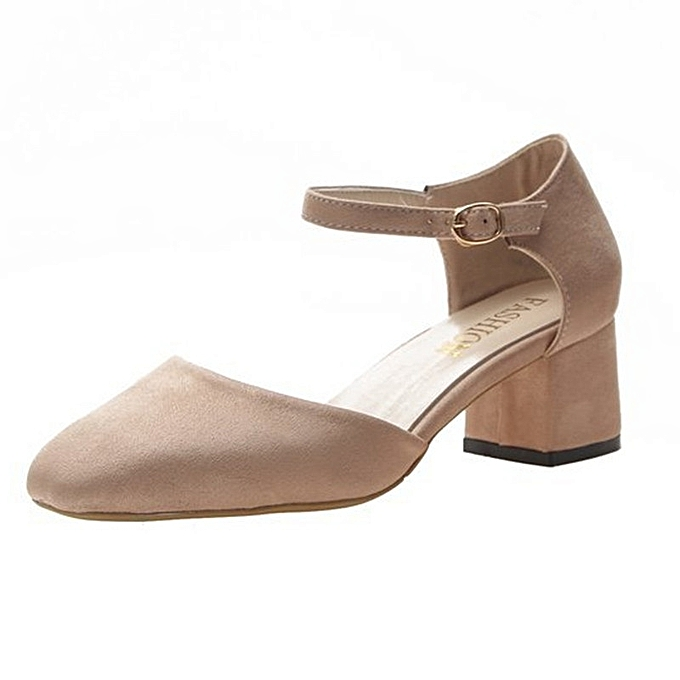 Other Wohommes Suede Middle Heel Suede Square Head Heel Single chaussures -Khaki. à prix pas cher