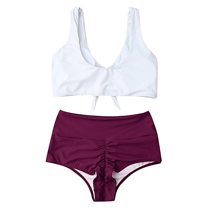 Generic HL High Waisted Ruched Bikini Set (Purplish,rouge) (XL, L, M, S) à prix pas cher
