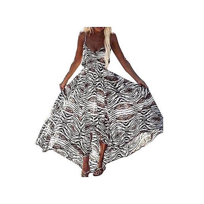 Fashion Xiuxingzi femmes Summer Irregular Boho Leopard Dress Sleeveless Long Maxi Dresses à prix pas cher