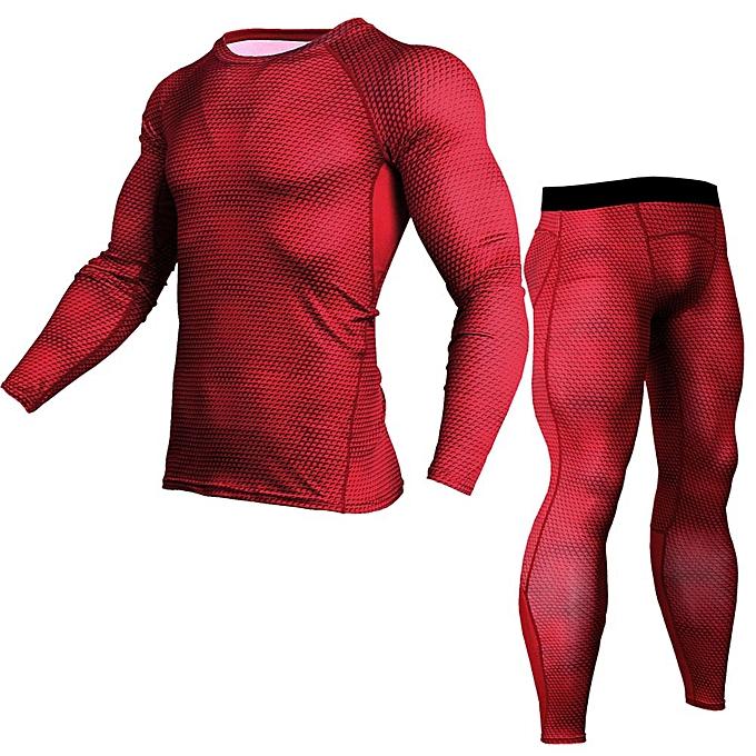 Fashion Man Workout Fitness Sports Gym Running Yoga Athletic Shirt Top Pants Sets -rouge à prix pas cher