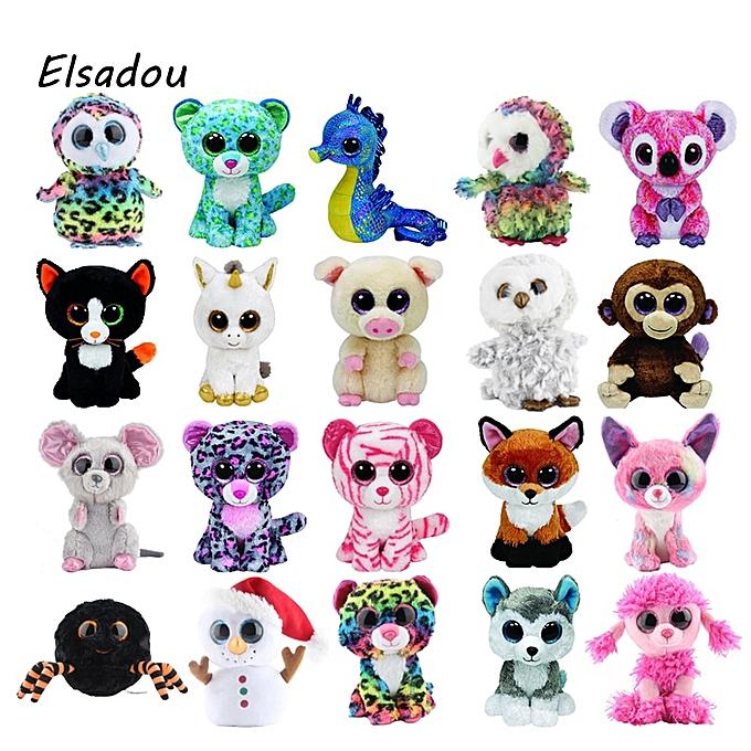 Autre Ty Beanie Boos Elephant and Monkey Plush Doll Toys for Girl Rabbit Fox Cute Animal Owl Unicorn Cat Ladybug 6  15cm(bleu Dragon) à prix pas cher