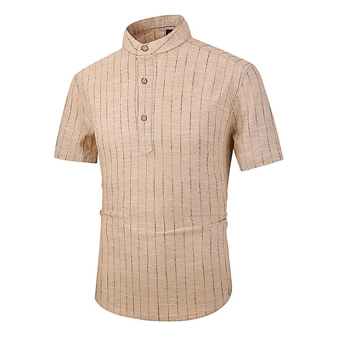 Fashion Men's linen short-sleeved Slim striped small collar shirt cotton linen hommes casual shirt-coffee à prix pas cher
