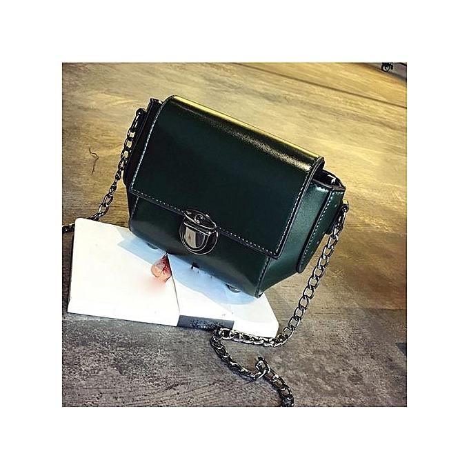 Siketu Fashion femmes Shoulder Bag Chain Strap Messenger Bags Handbags Metal Buckle GN-vert à prix pas cher