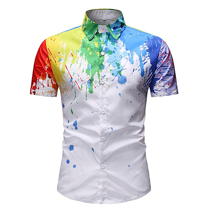 mode jiahsyc store mode Hommes Décontracté Splash-ink Print manche courte Turn-down Collar hauts T-Shirts à prix pas cher