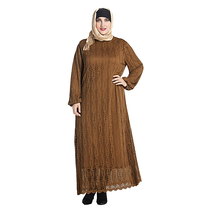 mode Hiamok Vintage femmes Islamic Muslim Robe Abaya Kaftan Long sleeve Plus Taille Robe à prix pas cher