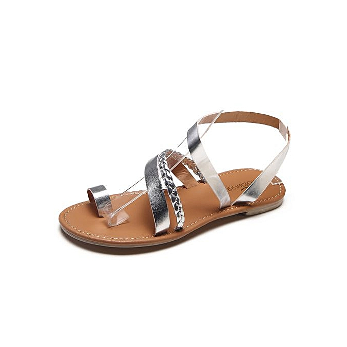 Fashion Trend femmes Summer Strappy Gladiator Low Flat Heel Flip Flops Beach Sandals chaussures à prix pas cher