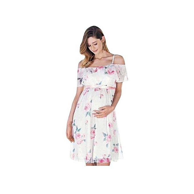 mode Tectores femmes Mother Floral Falbala Pregnant Off Shoulder Robe For Maternity Clothes à prix pas cher